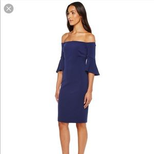 Laundry by Shelli Segal Navy off shoulder dress